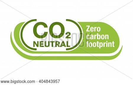 Co2 Neutral Green Badge, Net Zero Carbon Footprint - Carbon Emissions Free No Air Atmosphere Polluti