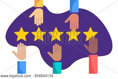 Hands Assesses Five Rating Stars - Maximum Positive Ranking In Abstract Decoration - Vector Illustra