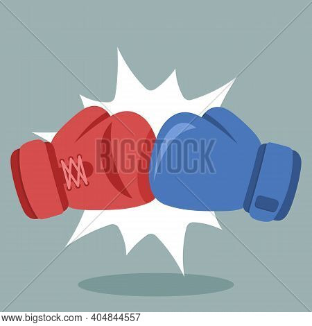 Pair Of Boxing Gloves Punch To Each Other. Red And Blue Boxing Gloves In A Boxing Match. Simple Vect