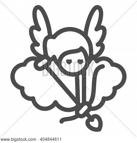 Angel With Arrow And Bow Line Icon, Valentines Day Concept, Cupid With Target On Cloud Sign On White