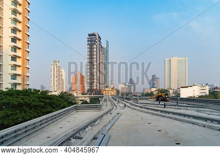 Train View On Railway In Bangkok Downtown To Icon Siam At Financial District, Skyscraper Buildings I