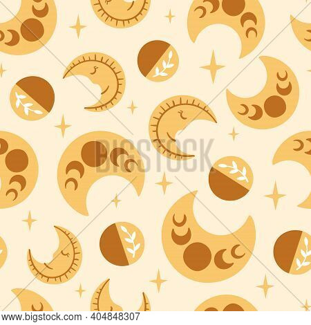 Celestial Boho Kids Seamless Pattern With Yellow Moon And Stars, Celestial Sky Digital Paper, Mystic