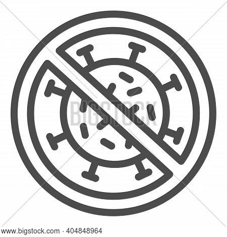 Prohibition Of Virus Spread Line Icon, Corona Downturn Concept, Preventing Spreads Of Disease Sign O