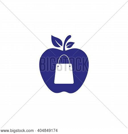 Shopping Bag Icon With Apple Concept. Bag Apple Logo Design. Apple Bag Icon Vector