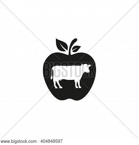 Stylized Silhouette Face Cow. Cow Logo Vector For Firm, Company, Agriculture. Cow Logo With Apple Co