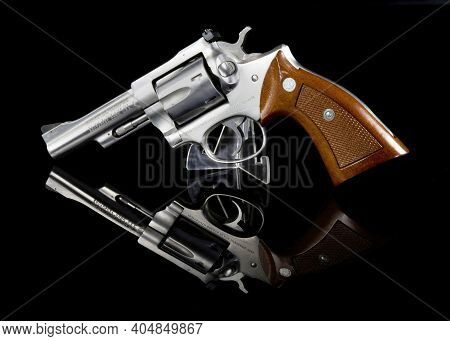 Dallas, Texas - Jan 2021   Ruger 357 Magnum Revolver Six Shooter Owned By A Peace Officer.