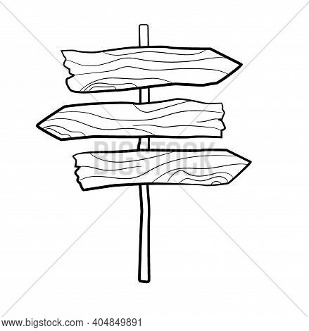 Doodle Sketch Of Wooden Indicator. Pointer. Direction Sign. Directory Wooden Signboard Road Board Wo