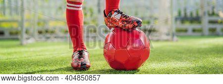 Banner, Long Format Little Cute Kid Boy In Red Football Uniform Playing Soccer, Football On Field, O