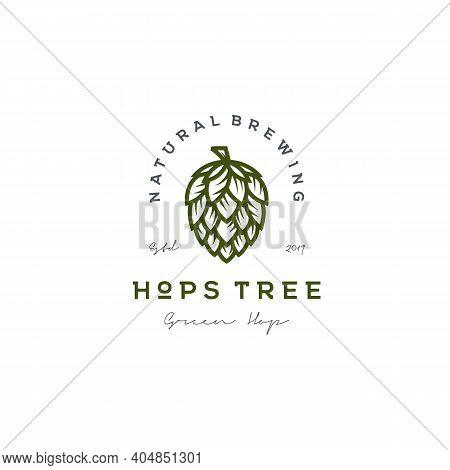 Retro Vintage Hops Flower For Beer Ale Brewery Logo Design