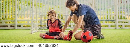Banner, Long Format Little Cute Kid Boy In Red Football Uniform And His Trainer Or Father Playing So