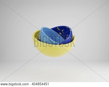 3d Render Of Yellow And Blue Hemisphere Rotating As Planet. Futuristic Geometrical Background. Big D