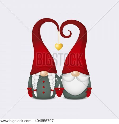 Two Scandinavian Gnomes With Red Hats In Heart Shape With Gold Heart Hold Hands, Cute Nordic Tomte C