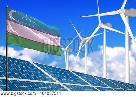 Uzbekistan Solar And Wind Energy, Renewable Energy Concept With Windmills - Renewable Energy Against