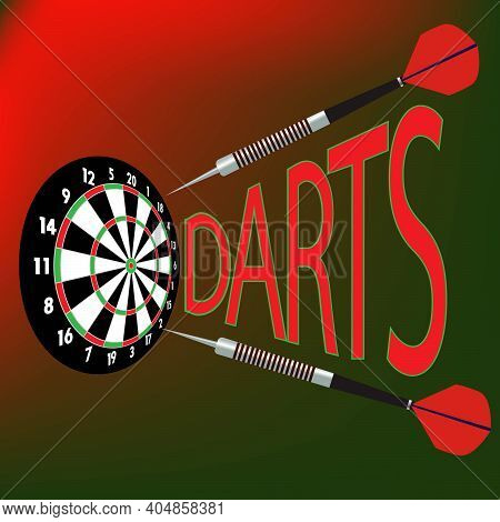 Dart Board And Darts Vector Illustration With Darts Game Title
