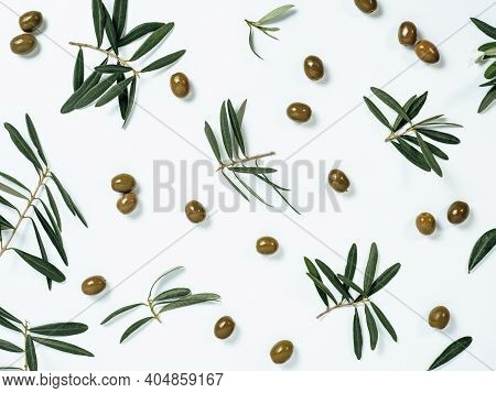 Beautiful Pattern With Green Olives And Olives Tree Leaves And Branches On White Background. Olive T
