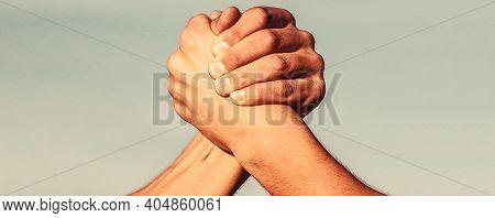 Rivalry Concept. Two Men Arm Wrestling. Hand, Rivalry, Vs, Challenge, Strength Comparison. Two Muscu