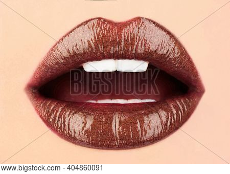 Dark Brown. Sexy Lips. Lip Care And Beauty. Close Up Of Sexy Plump Soft Lips With Dark Brown Lipstic