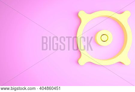 Yellow Car Audio Speaker Icon Isolated On Pink Background. Minimalism Concept. 3d Illustration 3d Re