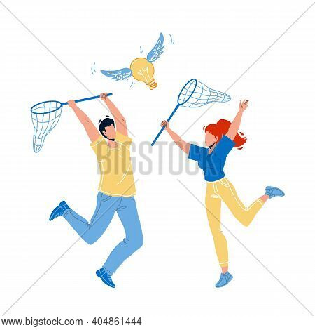 Catching Idea With Net Man And Woman People Vector