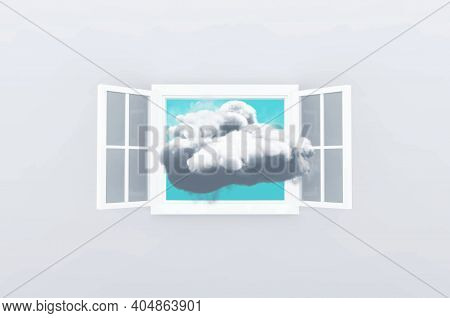Think Outside Of The Box Concept . Cloud Inside A Frame Of Window . This Is A 3d Render Illustration