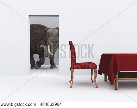 Elephant Walking In The House Interior . This Is A 3d Render Illustration .
