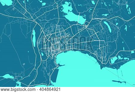 Detailed Map Of Baku City Administrative Area. Royalty Free Vector Illustration. Cityscape Panorama.
