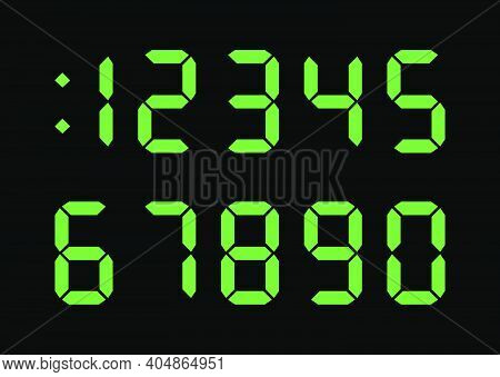 Digital Numbers Font For Electronic Clock Display, Calculator, Counter. Green Color On Black Backgro
