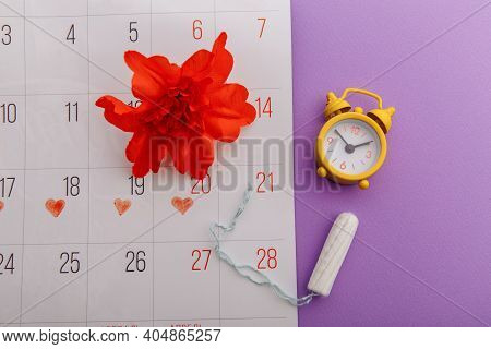 Females Menstrual Cycle And Hygiene Concept. Menstrual Calendar With Tampon, Alarm Clock And Red Flo