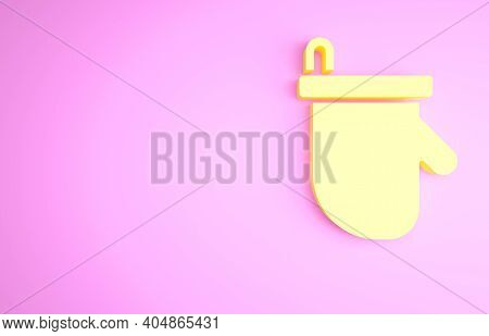 Yellow Sauna Mittens Icon Isolated On Pink Background. Mitten For Spa. Minimalism Concept. 3d Illust