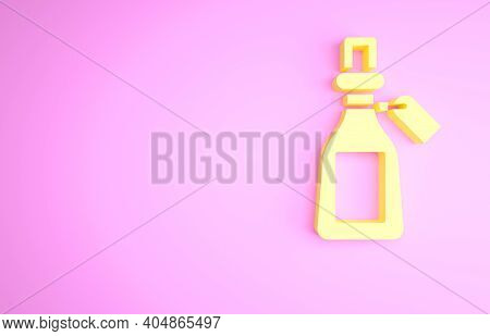 Yellow Essential Oil Bottle Icon Isolated On Pink Background. Organic Aromatherapy Essence. Skin Car