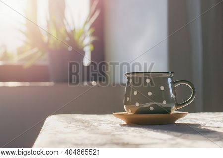 Cup Of Hot Tea On The Table, Cozy Home Interior Background