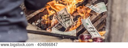 Banner, Long Format Burning The Silver And Gold Fake Money Paper For Chinese Dead People Ancestors.