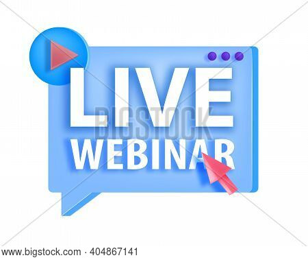 Online Webinar, Digital Lecture, Training Vector Icon, Logo Concept With Play Button, Arrow,isolated