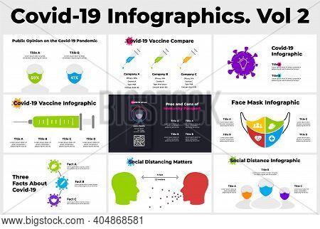 Coronavirus Vector Infographic. Vol 2. Covid-19 Presentation Template. Vaccination Diagram. Syringe