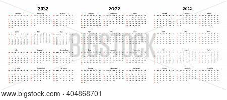 Set Of Three Calendars For 2022 Isolated On A White Background. Sunday To Monday, Business Template.