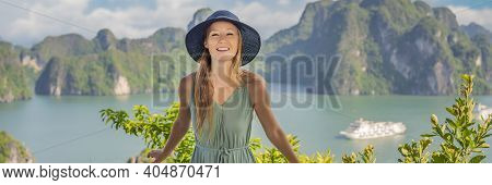 Banner, Long Format Attractive Woman In A Dress Is Traveling In Halong Bay. Vietnam. Travel To Asia,