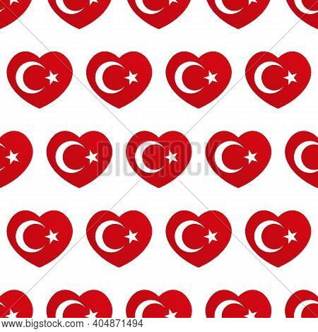 Vector Seamless Pattern Background With Heart-shapes Flags Of Turkey For Turkish Public And National