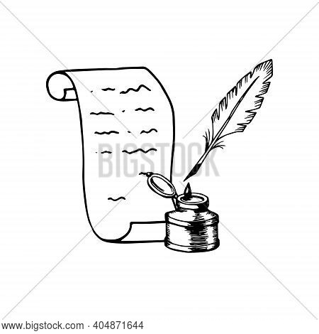Paper Scroll Inkwell Nib Vintage Ink Pen. Literature Poetry Writing Symbol. Hand Drawn Engraving Bla