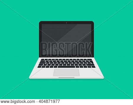 Laptop With Screen And Keyboard. Laptop In Cartoon Style. Icon Of Computer In Front. Mockup Of Open