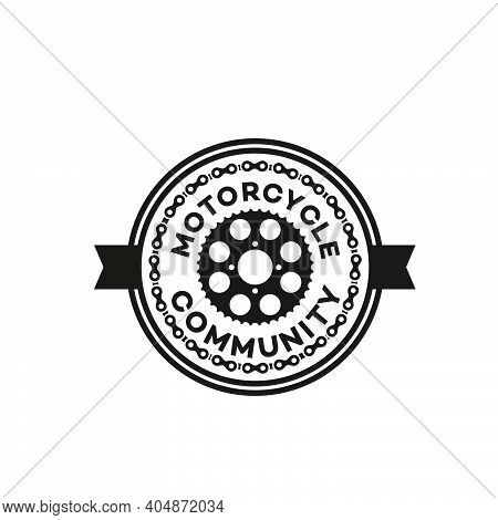 Silhouette Of The Motorcycle Chain And Gear For The Logo Design Of The Automotive Emblem Or Motorcyc