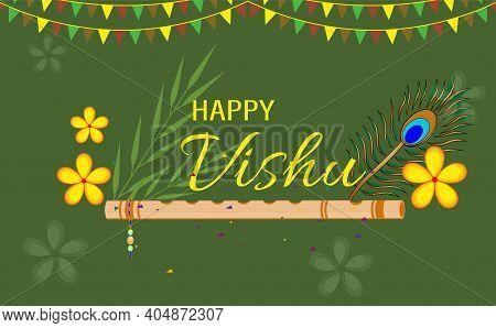 Happy Vishu. Kerala Festival With Vishu Kani,vishu Flower Fruits And Vegetables, Cassia Flower. Wors
