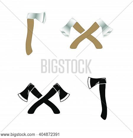 Crossed Ax. Wood Chopping Tool. Realistic Style And Silhouette Ax Logo Design