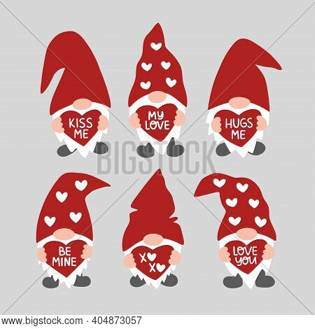 Valentines Day Vector Illustration Set. Valentine Gnome Isolated On White Background. Be Mine, Kiss
