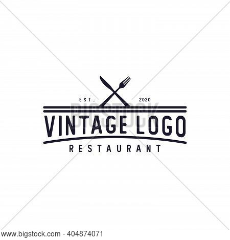 Spoon Fork Knife For Restaurant Bar Bistro Vintage Retro Logo Design Vector