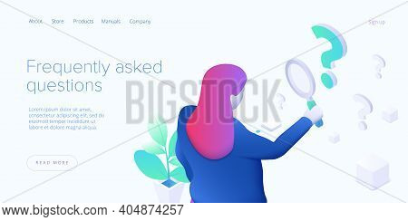 Faq Concept Illustration In Isometric Vector Design. Frequently Asked Questions Concept With Woman L
