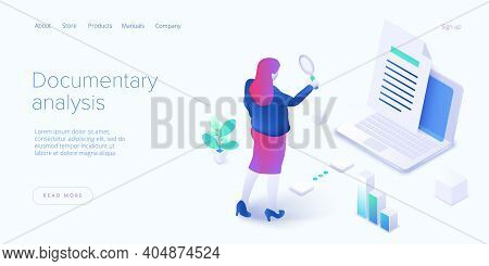 Documentary Analysis In Isometric Vector Illustration. Document Qualitative Research With Woman Look