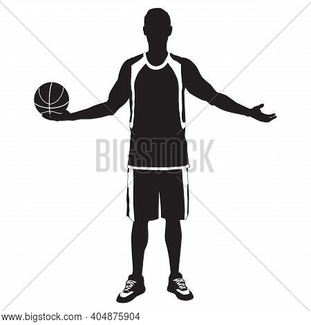 Young Man Athlete, Professional Basketball Player Silhouette Standing With Ball In Hand, Vector Illu