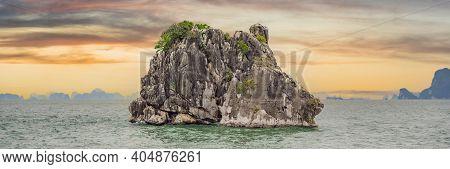Picturesque Sea Landscape. Ha Long Bay, Vietnam Banner, Long Format