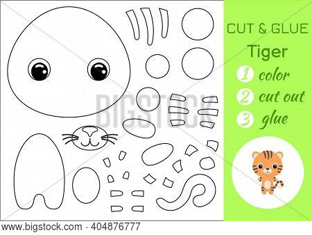 Coloring Book Cut And Glue Baby Tiger. Educational Paper Game For Preschool Children. Cut And Paste