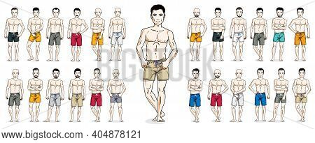 Men In Beach Shorts Vector Illustrations Big Set Isolated On White Background, Attractive And Handso